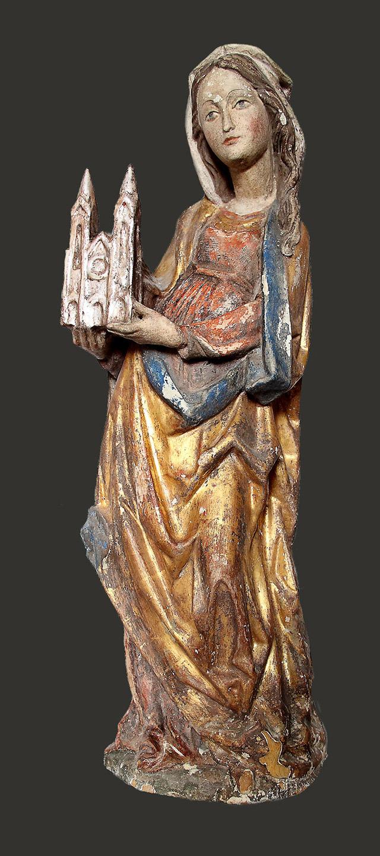 Heiligenfigur Zustand vor Restaurierung